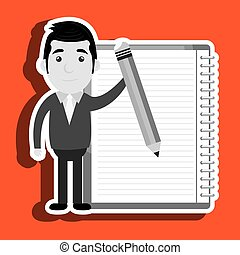 man with pencil  isolated icon design