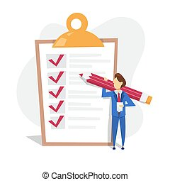 Man with pencil standing at the big checklist
