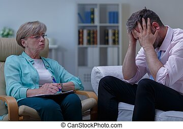 Man with phobia during therapy - Image of man with phobia...