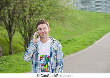 Man with phone in the park