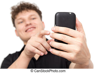 man with phone on a white background