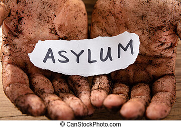 Man With Piece Of Paper Showing Asylum Word