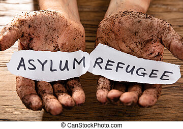 Man's Dirty Hands With Two Pieces Of Paper Showing Refugee And Asylum Words