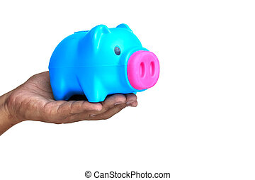 Man with piggy bank in hand on white background.