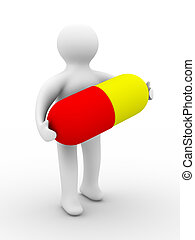 man with pill on  white background. Isolated 3D image