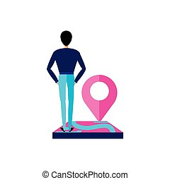 man with pin pointer location icon