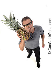 man with pineapple on white background