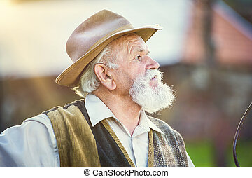 Man with pitchfork