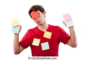 Man with post-it