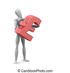 Man with pound sign - 3D render of someone holding a pound...