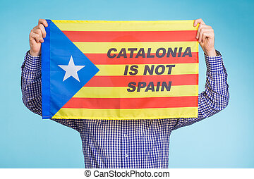 Man with pro-independence flag. Referendum For The Separation Of Catalonia From Spain Concept