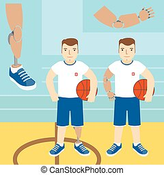 Man with prosthetic arm, holding a basketball, and a man with a prosthetic leg, holding a basketball. Vector illustration. Flat icon.