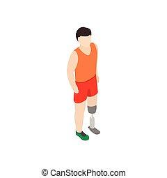 Man with prosthetic leg icon, isometric 3d style