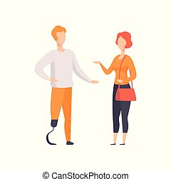 Man with prosthetic leg talking with girl, disabled person enjoying full life vector Illustration on a white background