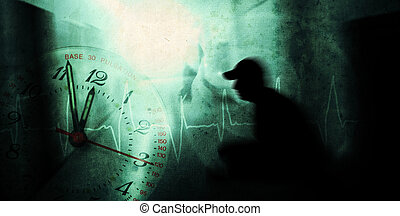 man with psychic pressure in a corridor