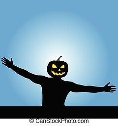 man with pumpkin head vector silhouette illustration