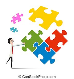 Man with Puzzle Isolated on White Background