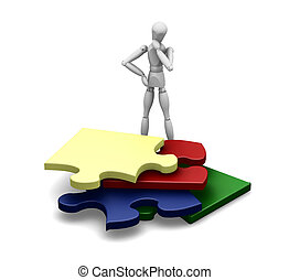 Man with puzzle pieces - 3D render of a wooden man with...