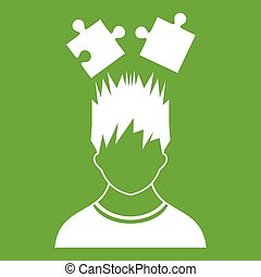 Man with puzzles over head icon green