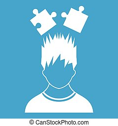 Man with puzzles over head icon white