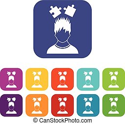 Man with puzzles over head icons set