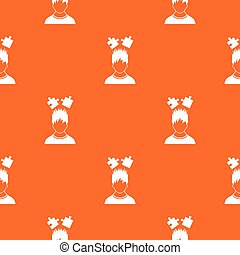 Man with puzzles over head pattern seamless