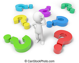 Man with question mark - 3d man, person, human and colorful...