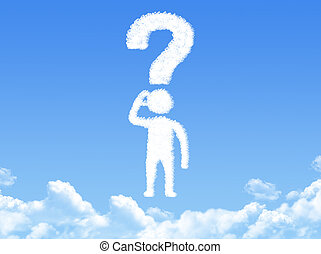 man with question mark cloud shape