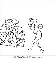 Man With Questions - Man dragging cubes with question marks,...