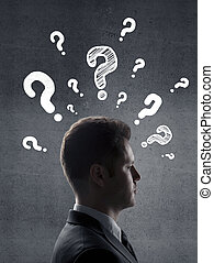 man with questions symbol