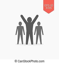 Man with raised hands, leadership, success icon. Flat design gray color symbol. Modern UI web navigation, sign.