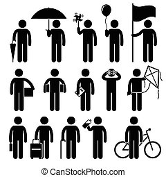 A set of human pictogram representing man with random objects such as umbrella, pinwheel, balloon, flag, box, boxes, book, binocular, kite, briefcase, luggage, stick, water bottle, and a bicycle.