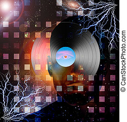 Man with record and space