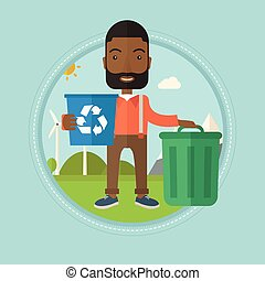 Man with recycle bin and trash can.
