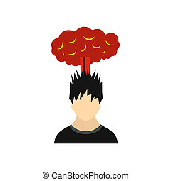 Man with red cloud over head icon, flat style
