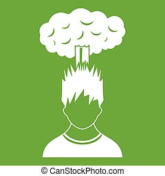 Man with red cloud over head icon green