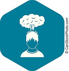 Man with red cloud over head icon, simple style