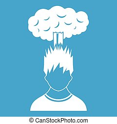 Man with red cloud over head icon white
