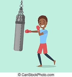 Man with red gloves boxing with punching bag
