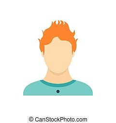 Man with red hair icon, flat style