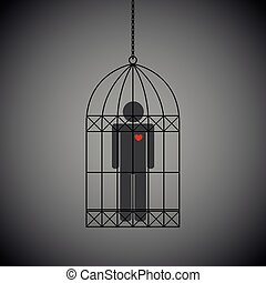 man with red heart in a cage on dark background