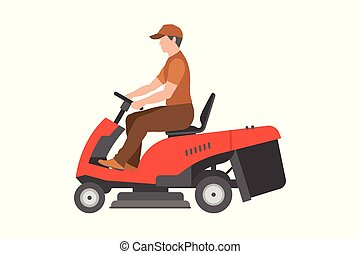 Man with red lawnmower