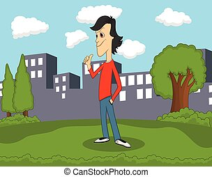 Man with red shirt standing at the park cartoon