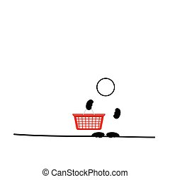 man with red shopping basket vector