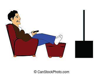 man with remote control - man relaxing in big comfortable...