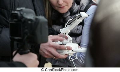 Man with remote controller for drone closeup
