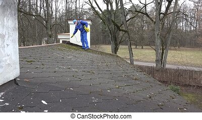 man with respirator spray moss with chemicals growing on house roof