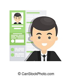 Man with resume. Document of people working.