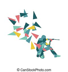 Man with rifle vector background sport concept made of polygon fragments isolated