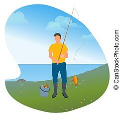Man with Rod and Fish, Fishing Hobby on Lake